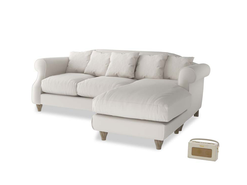 Large right hand Sloucher Chaise Sofa in Chalk clever cotton
