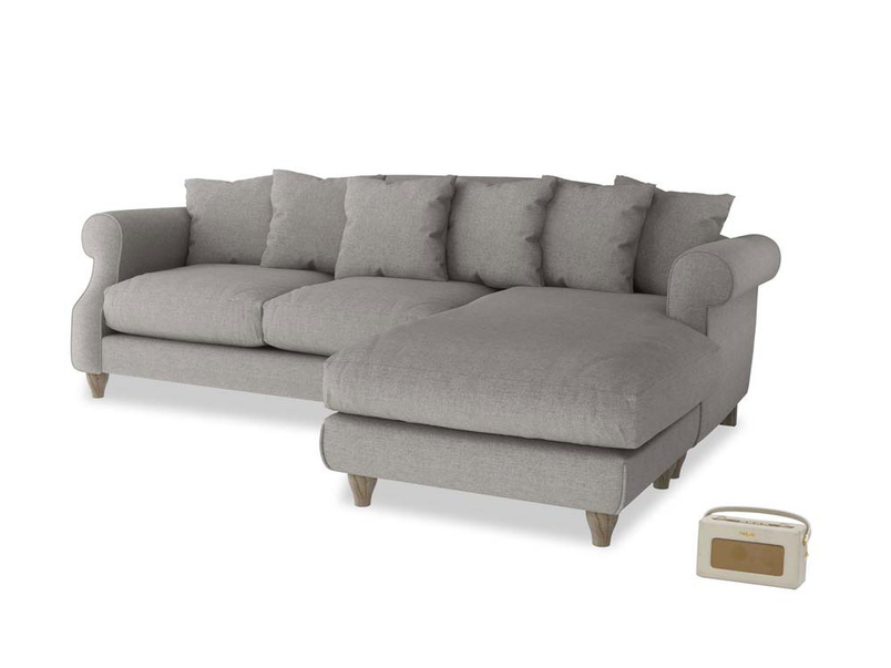 XL Right Hand  Sloucher Chaise Sofa in Marl grey clever woolly fabric