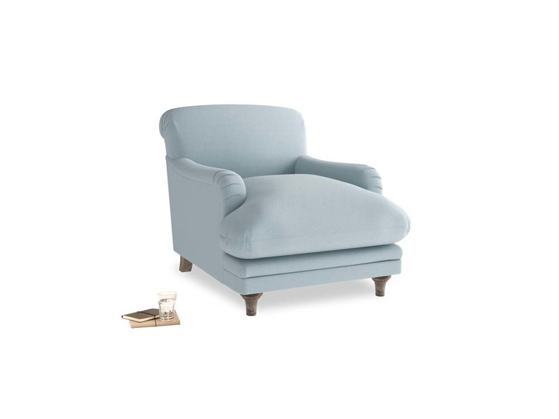 Pudding Armchair in Soothing blue washed cotton linen