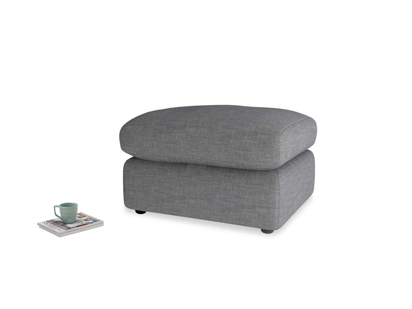 Chatnap Storage Footstool in Strong grey clever woolly fabric