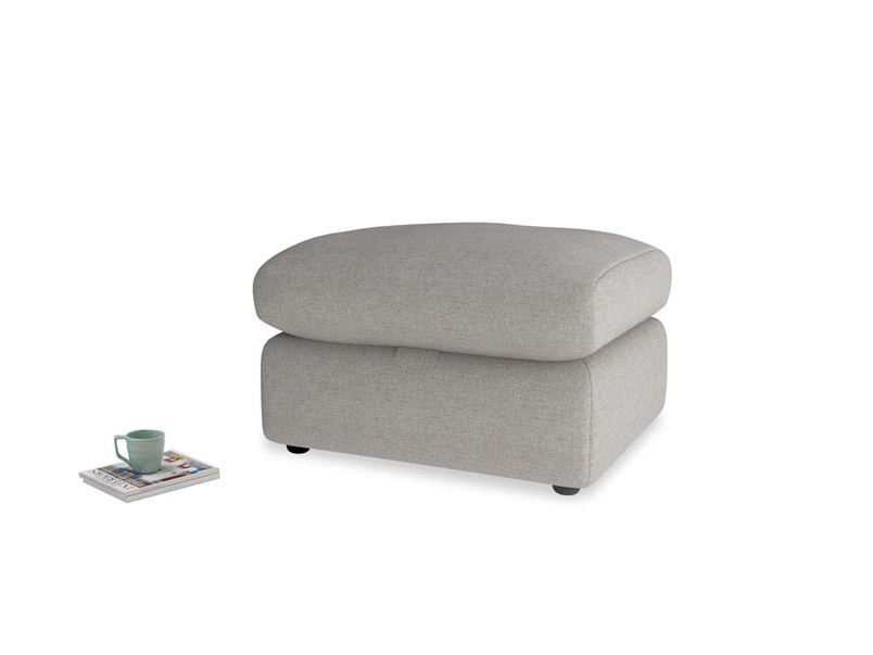 Chatnap Storage Footstool in Marl grey clever woolly fabric