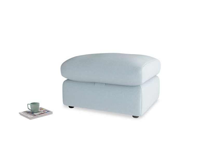 Chatnap Storage Footstool in Soothing blue washed cotton linen