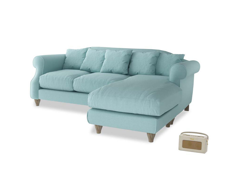 Large right hand Sloucher Chaise Sofa in Adriatic washed cotton linen