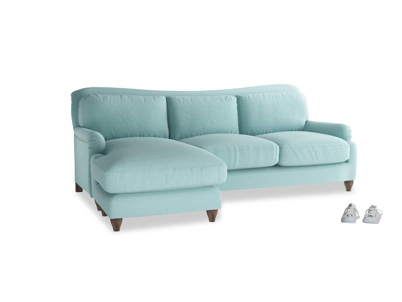 Large left hand Pavlova Chaise Sofa in Adriatic washed cotton linen