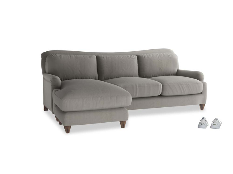 Large left hand Pavlova Chaise Sofa in Monsoon grey clever cotton
