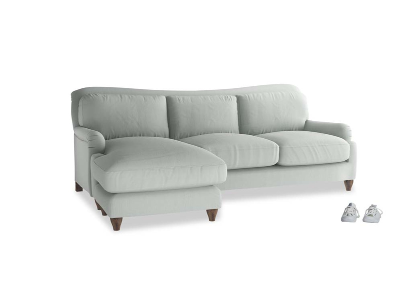 Large left hand Pavlova Chaise Sofa in Eggshell grey clever cotton