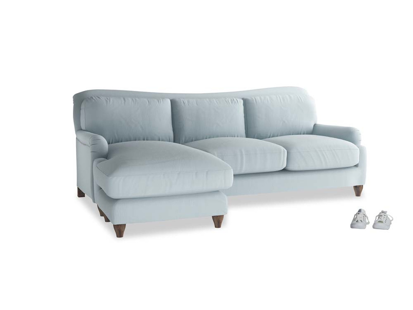 Large left hand Pavlova Chaise Sofa in Scandi blue clever cotton