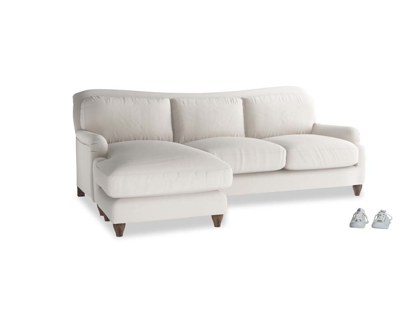 Large left hand Pavlova Chaise Sofa in Chalk clever cotton