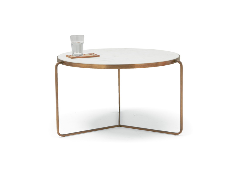 Low Jinks modern style brass and marble top coffee table