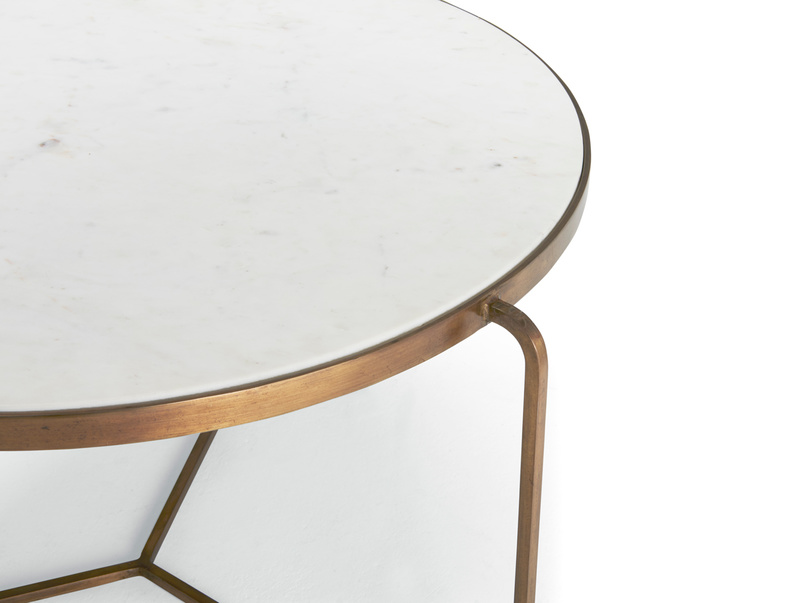 Low Jinks coffee table with brass and marble top
