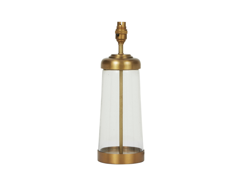 Diner glass and brass table lamp