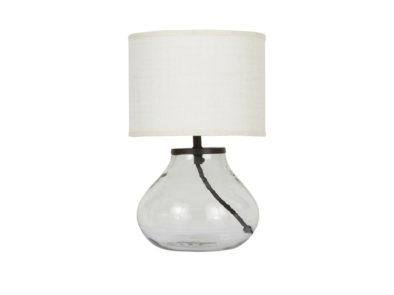 Mini Bessy glass table lamp with plain shade