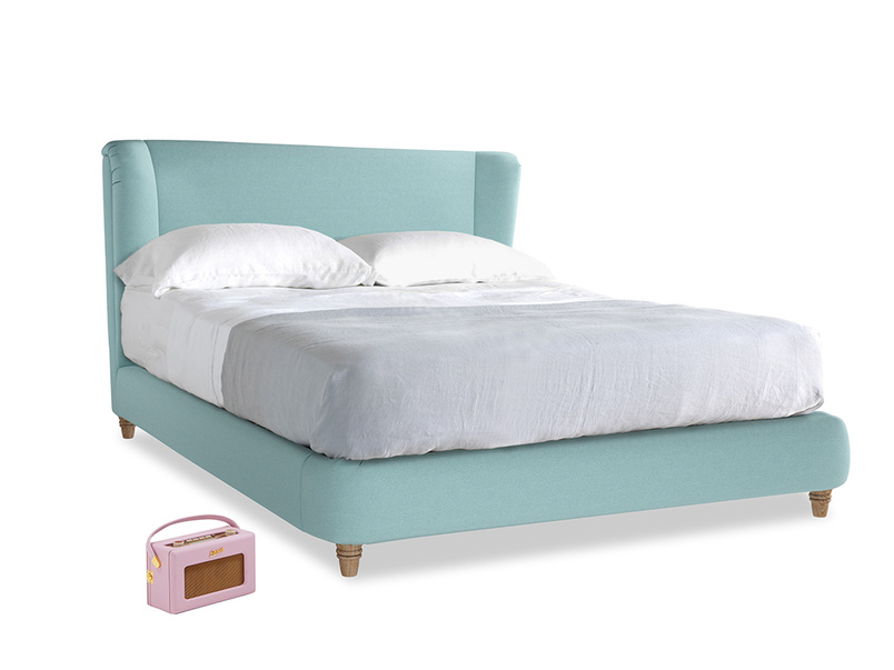 Kingsize Hugger Bed in Adriatic washed cotton linen