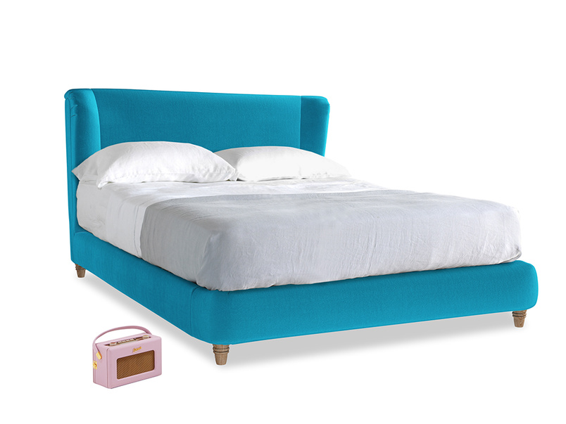 Kingsize Hugger Bed in Azure plush velvet