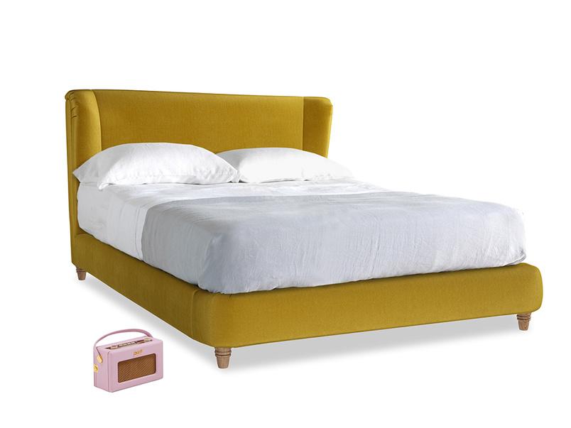 Kingsize Hugger Bed in Burnt yellow vintage velvet