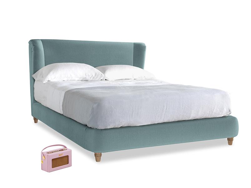Kingsize Hugger Bed in Lagoon clever velvet
