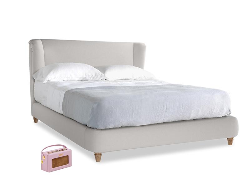 Kingsize Hugger Bed in Lunar Grey washed cotton linen