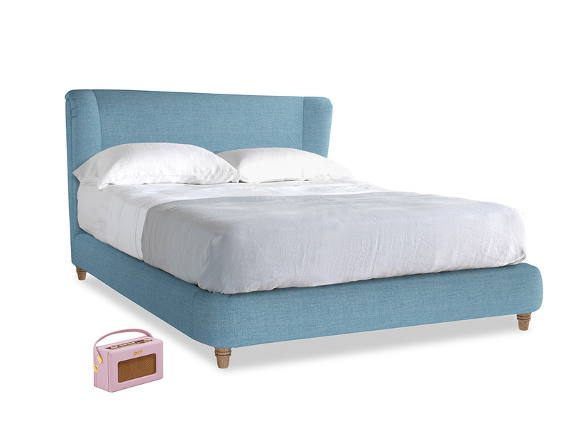 Kingsize Hugger Bed in Moroccan blue clever woolly fabric