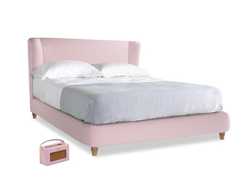 Kingsize Hugger Bed in Pale Rose vintage linen