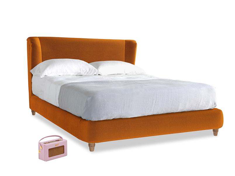Kingsize Hugger Bed in Spiced Orange clever velvet