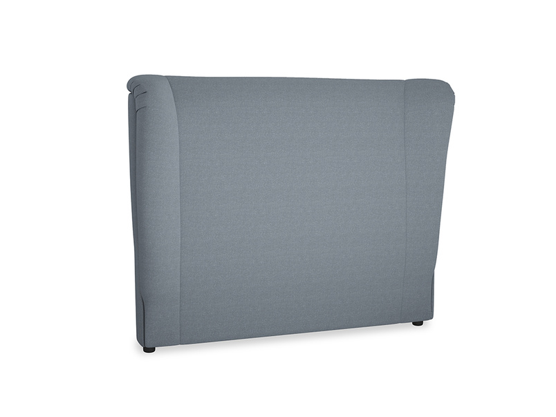 Double Hugger Headboard in Blue Storm washed cotton linen