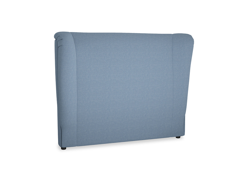 Double Hugger Headboard in Nordic blue brushed cotton