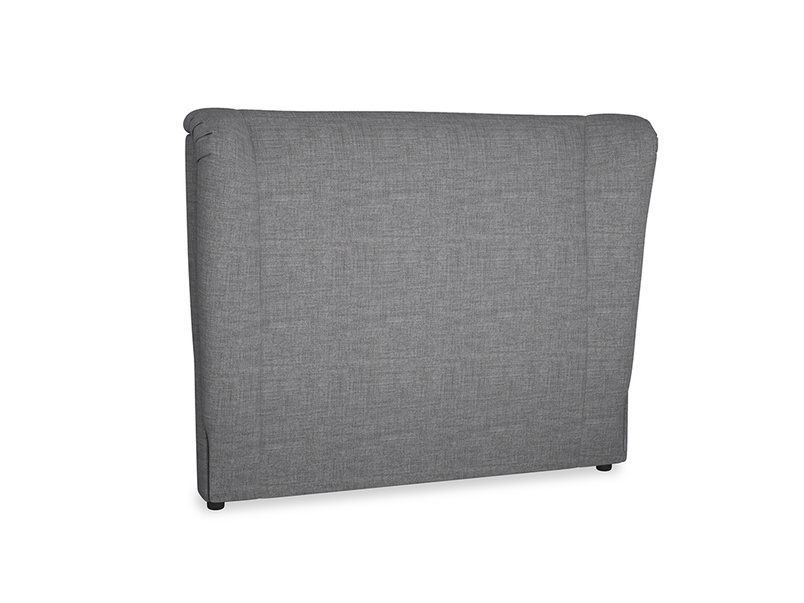 Double Hugger Headboard in Strong grey clever woolly fabric