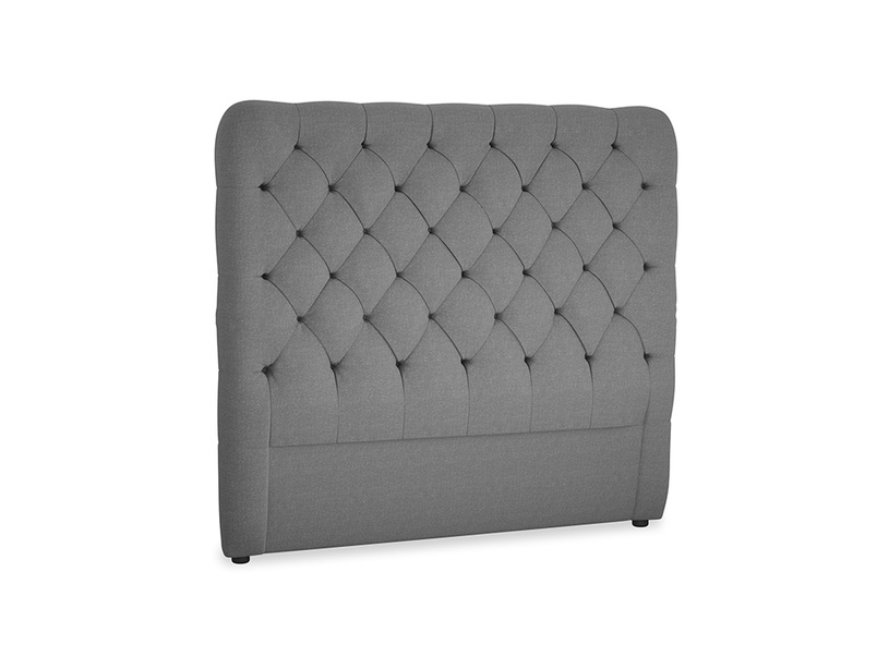 Double Tall Billow Headboard in Ash washed cotton linen
