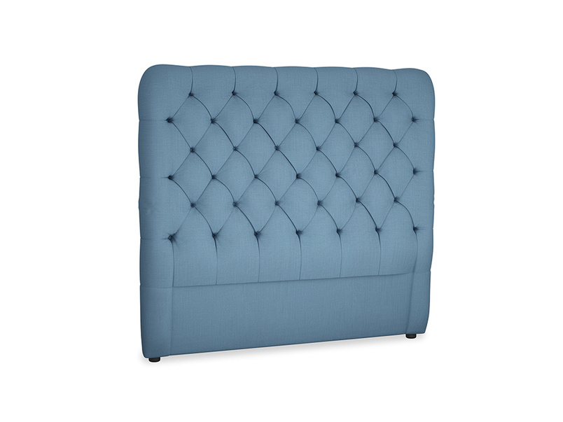 Double Tall Billow Headboard in Easy blue clever linen