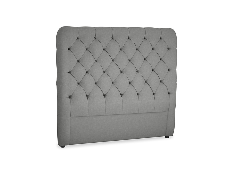 Double Tall Billow Headboard in French Grey brushed cotton