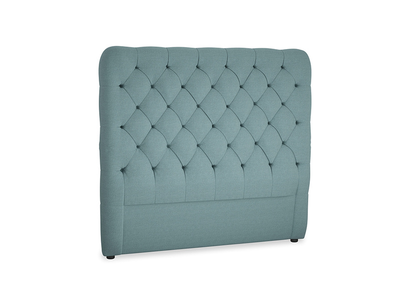Double Tall Billow Headboard in Marine washed cotton linen