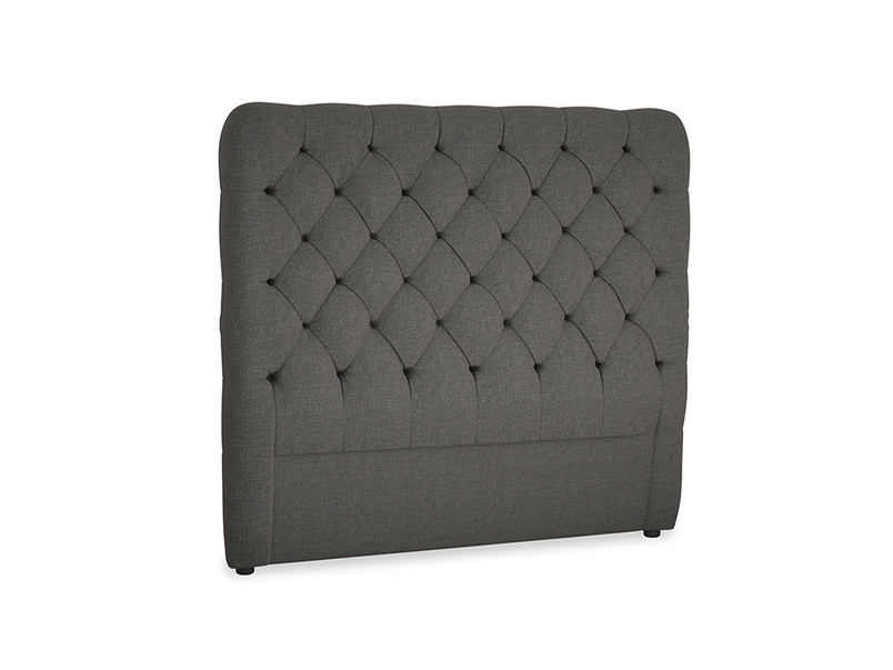 Double Tall Billow Headboard in Old Charcoal brushed cotton