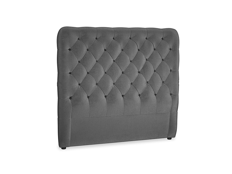 Double Tall Billow Headboard in Scuttle grey vintage velvet