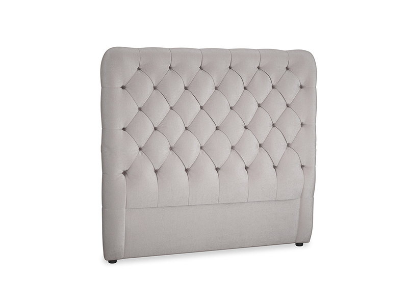 Double Tall Billow Headboard in Soothing grey vintage velvet