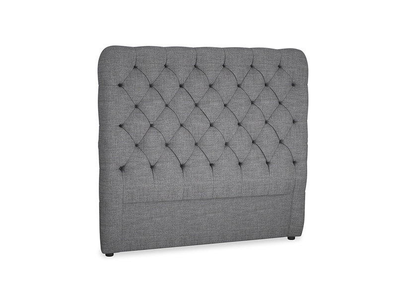 Double Tall Billow Headboard in Strong grey clever woolly fabric