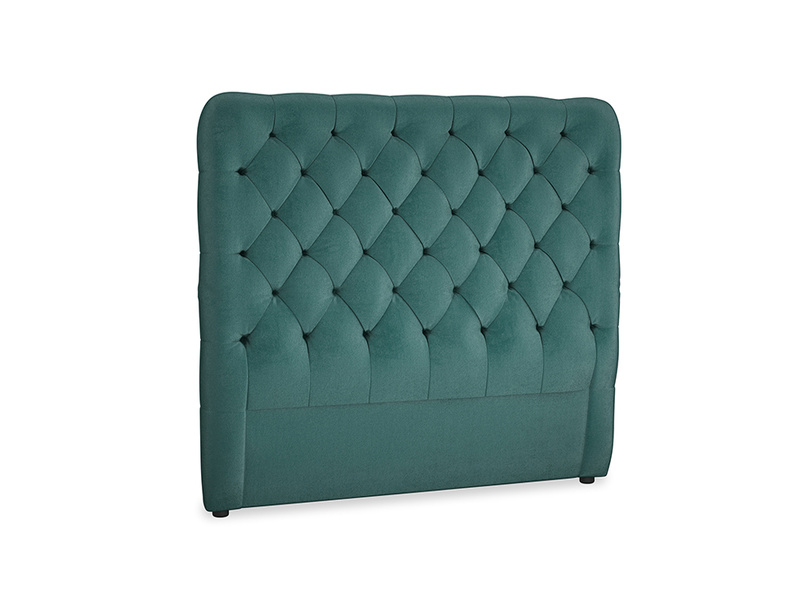 Double Tall Billow Headboard in Timeless teal vintage velvet