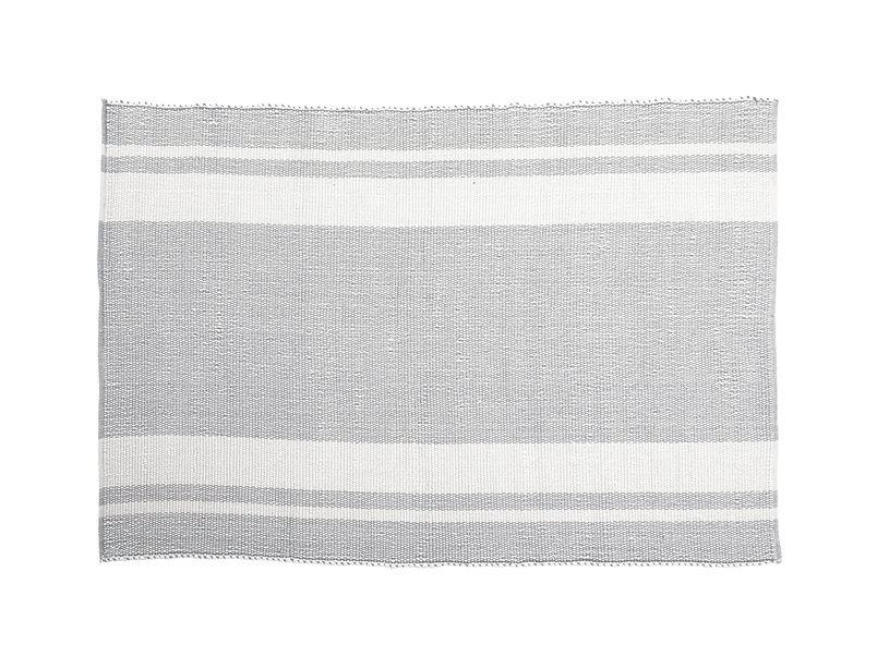 Babouche woven rug in grey and natural