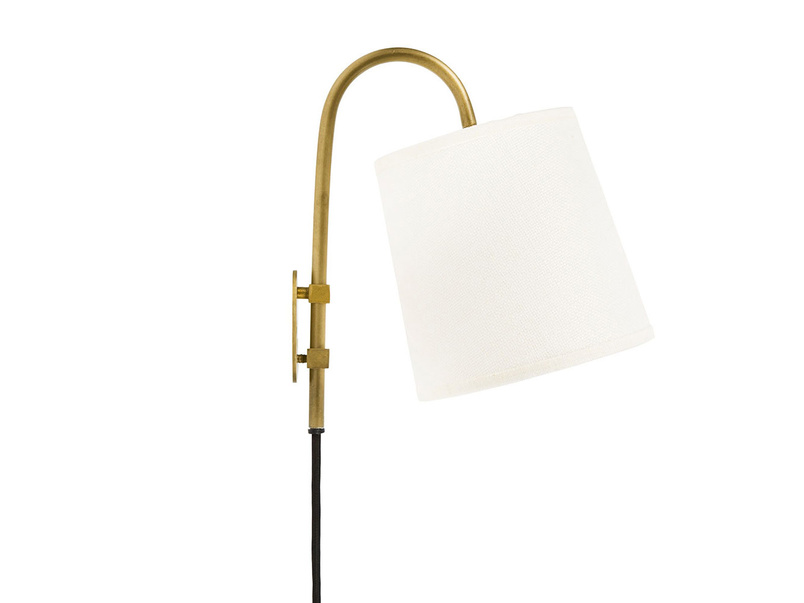Head Jog In Brass wall light with a Natural Hessian shade
