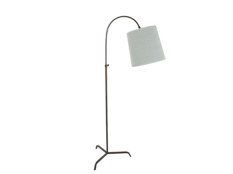 Curved bronze Slam Dunk floor lamp with tripod legs