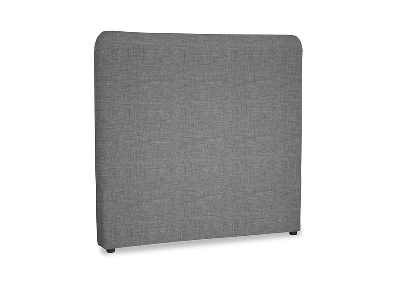 Double Ruffle Headboard in Strong grey clever woolly fabric