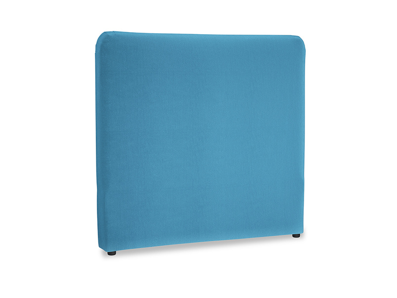 Double Ruffle Headboard in Teal Blue plush velvet