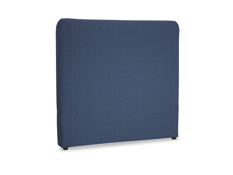 Double Ruffle Headboard in Navy blue brushed cotton