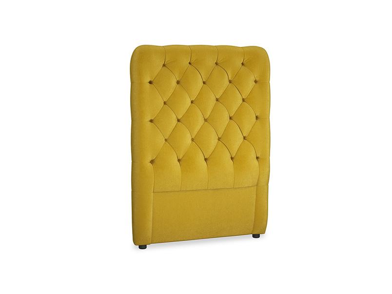 Single Tall Billow Headboard in Burnt yellow vintage velvet