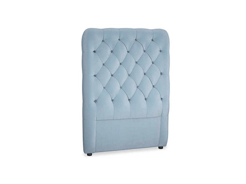 Single Tall Billow Headboard in Chalky blue vintage velvet