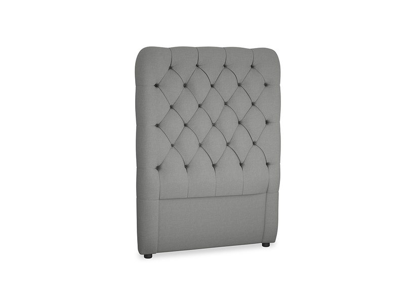 Single Tall Billow Headboard in French Grey brushed cotton
