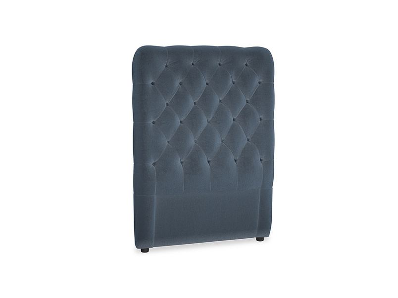 Single Tall Billow Headboard in Liquorice Blue clever velvet
