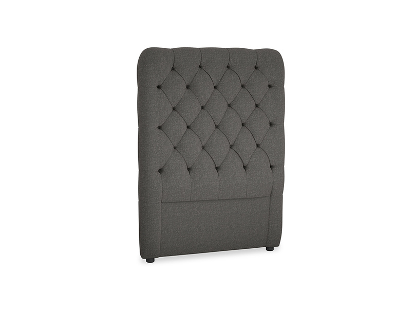 Single Tall Billow Headboard in Old Charcoal brushed cotton