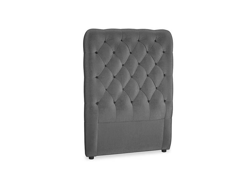 Single Tall Billow Headboard in Scuttle grey vintage velvet