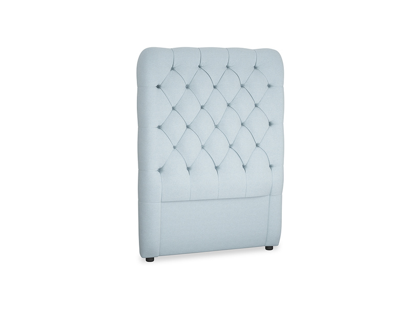 Single Tall Billow Headboard in Soothing blue washed cotton linen