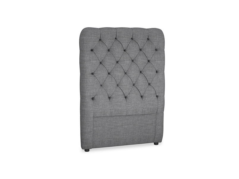 Single Tall Billow Headboard in Strong grey clever woolly fabric
